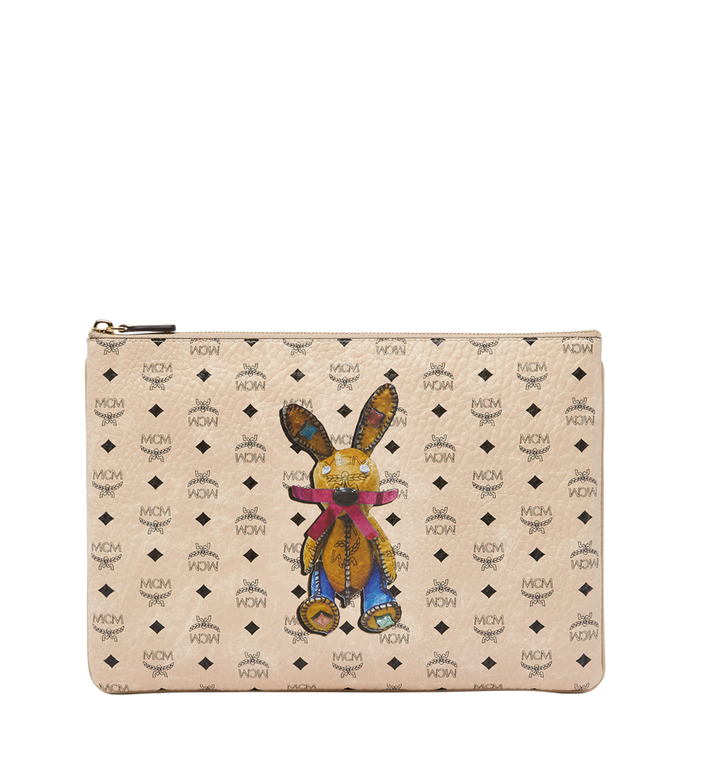 MCM Rabbit Crossbody Pouch in Visetos Beige MYZ6AXL81IG001 Alternate View 1