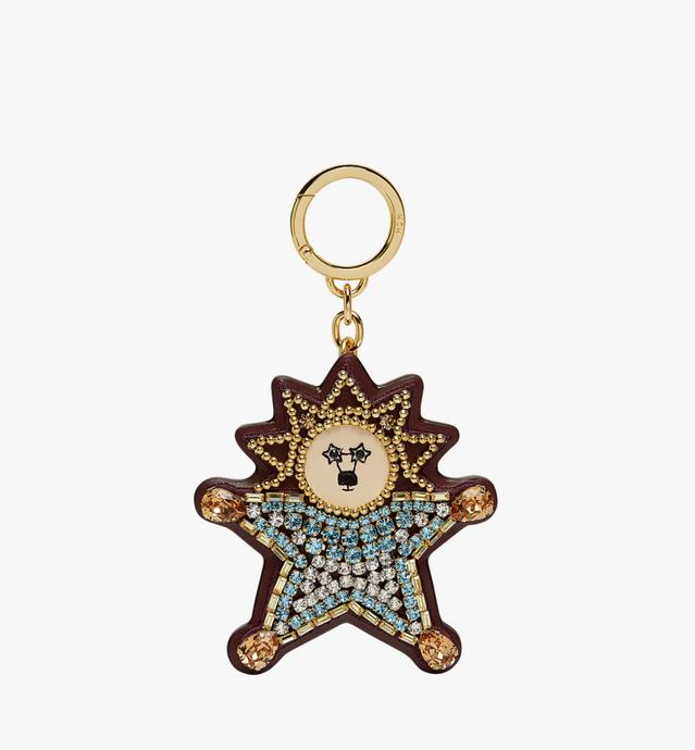 Crystal Star Lion Charm in Leather