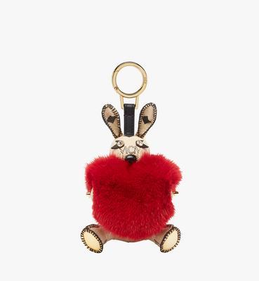 Rabbit Fur Heart Animal Charm