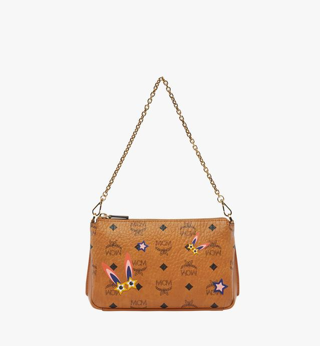 Star Eyed Bunny Top Zip Shoulder Bag in Visetos
