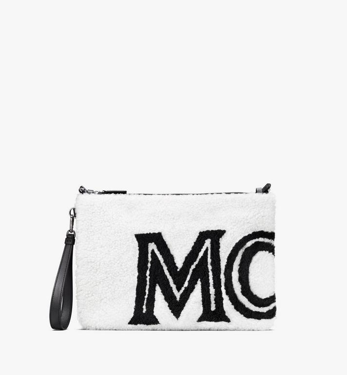MCM Shearling Zip Pouch in Contrast Logo Alternate View