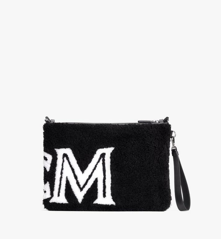 MCM Shearling Zip Pouch in Contrast Logo White MYZ9ACL01WD001 Alternate View 2