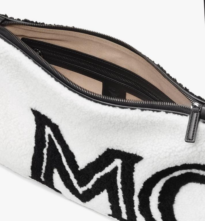 MCM Shearling Zip Pouch in Contrast Logo White MYZ9ACL01WD001 Alternate View 3