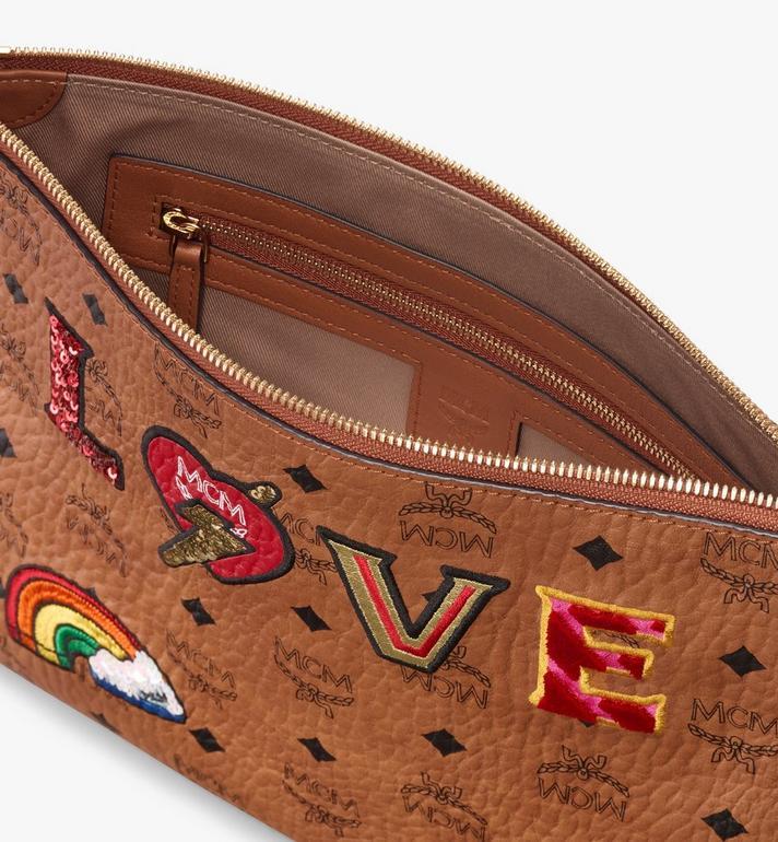 MCM Zip Pouch in Love Patch Visetos Cognac MYZ9AVI64CO001 Alternate View 3