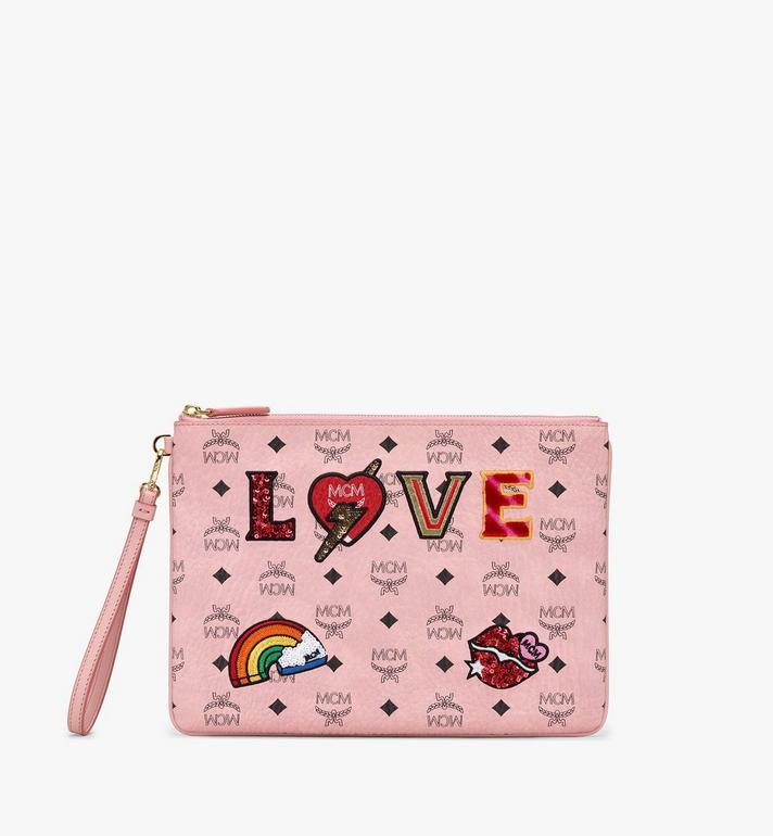 MCM Zip Pouch in Love Patch Visetos Alternate View