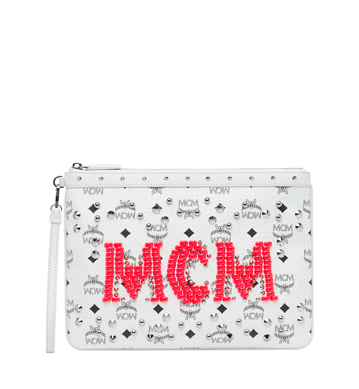 MCM Wristlet Zip Pouch in Neon Stud Visetos Alternate View