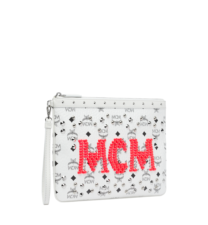 MCM Wristlet Zip Pouch in Neon Stud Visetos Alternate View 2