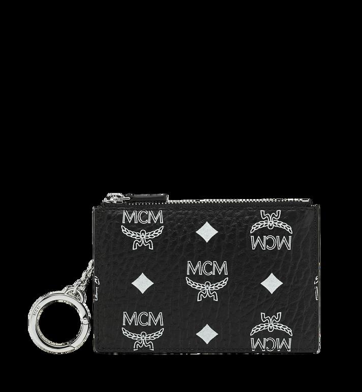 MCM Pochette avec porte-clés en Visetos à logo blanc Alternate View