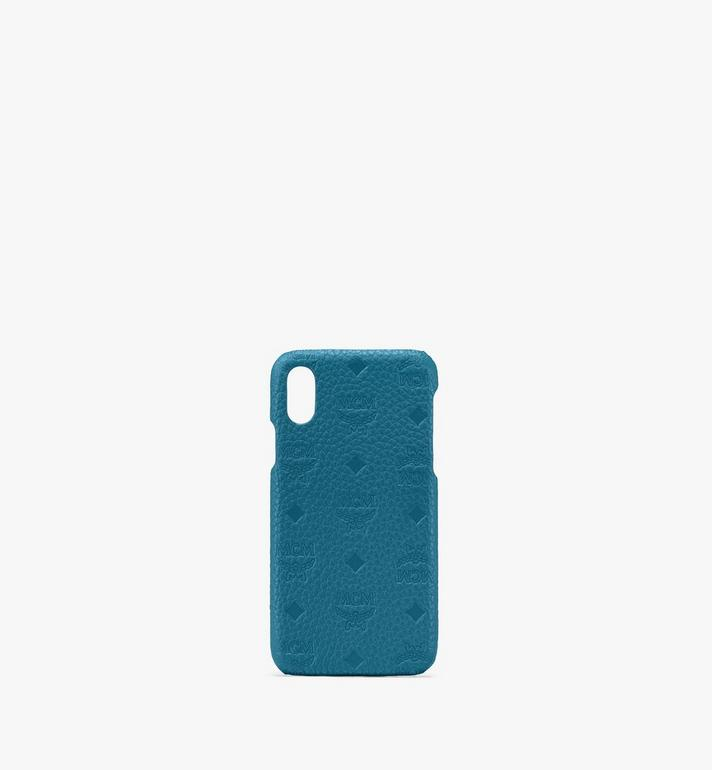 MCM Tivitat iPhone X/XS Case in Monogram Leather Blue MZE9ABT26JF001 Alternate View 1
