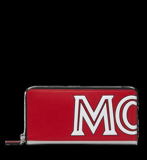 Brieftasche aus Leder mit Reissverschluss und kontrastfarbenem Logo