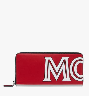 Contrast Logo Zip Wallet in Leather