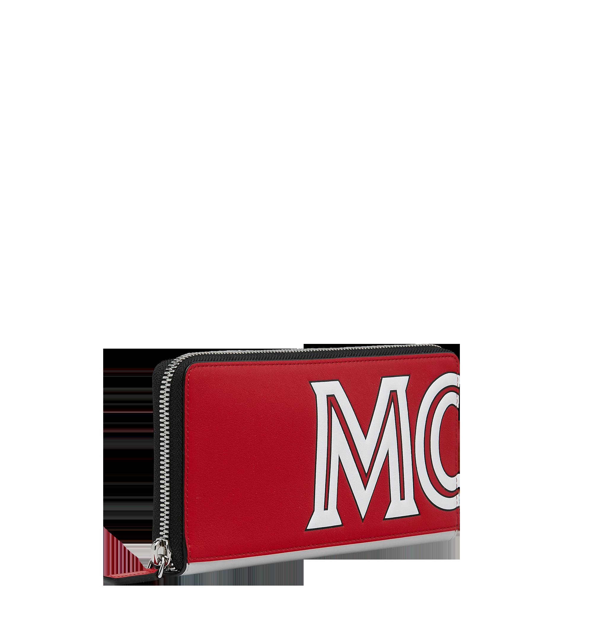 MCM Brieftasche aus Leder mit Reissverschluss und kontrastfarbenem Logo  Red MZL9SCL02RU001 Alternate View 2