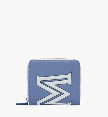 Zip Wallet in Contrast Logo Leather