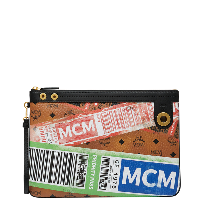 MCM Top Zip Pouch in Flight Print Visetos Alternate View