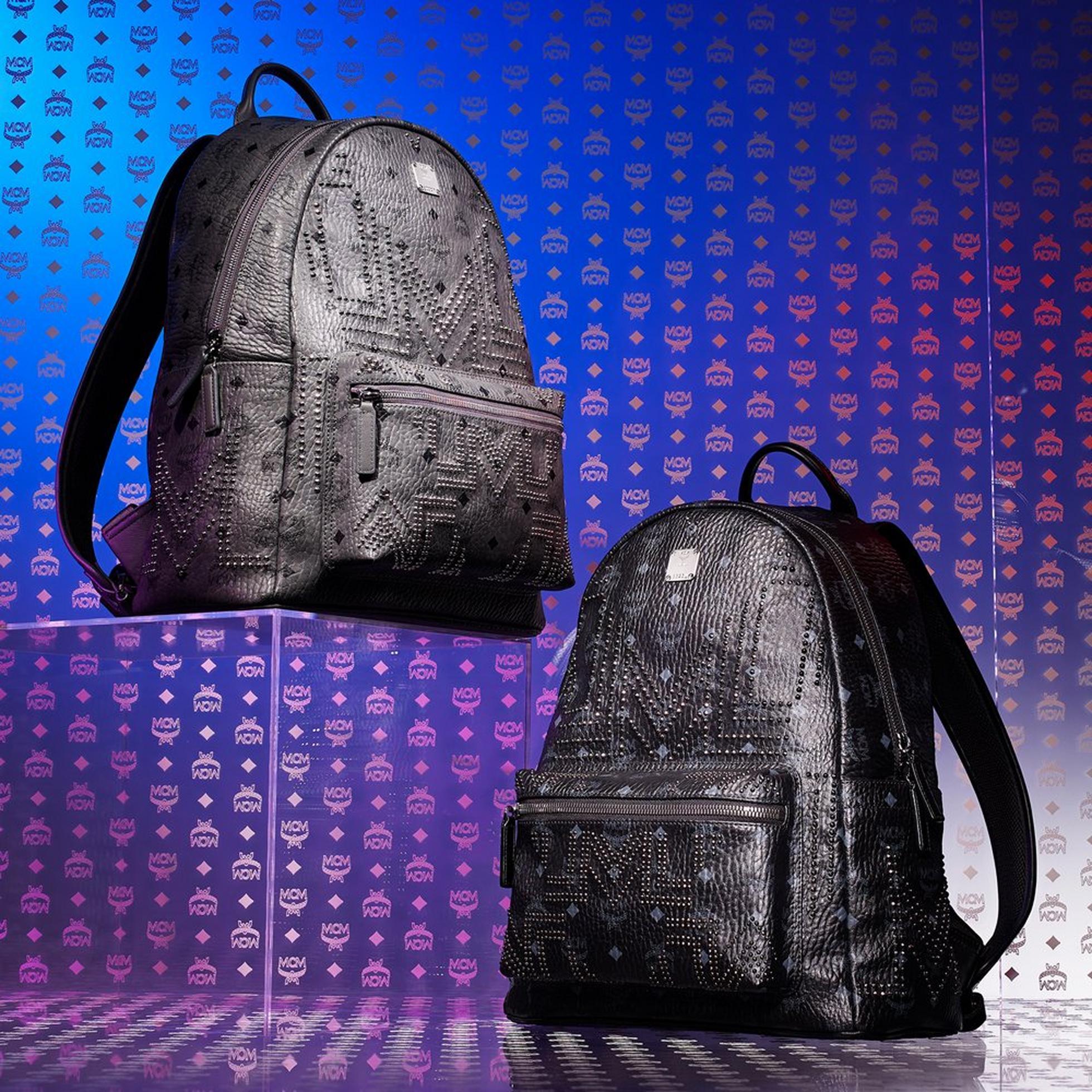 Gunta M Studs Backpacks in Black and grey