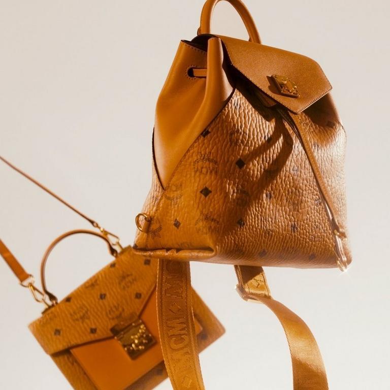 Women's Essential Backpack and Satchel Bag in Cognac Visetos
