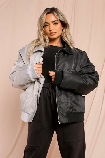 Black Contrast Nylon Oversized Bomber Jacket