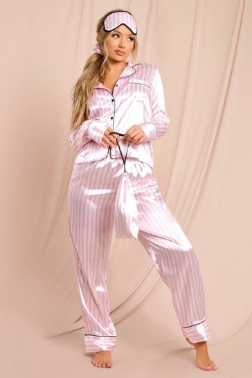 Pink Satin 6Pc Shorts And Pants Pj Set