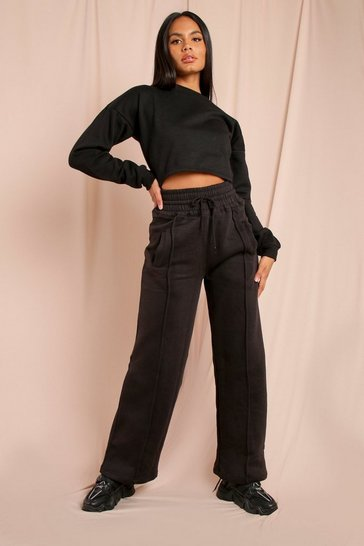 Black Shirred High Waisted Wide Leg Jogger