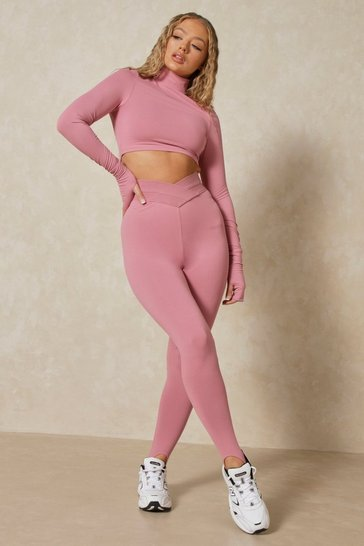 Dusty pink Misspap 2 Branded V Front Elasticated Leggings