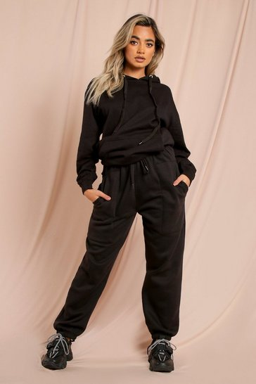 Black Ruched Waist Oversized Soft Jogger