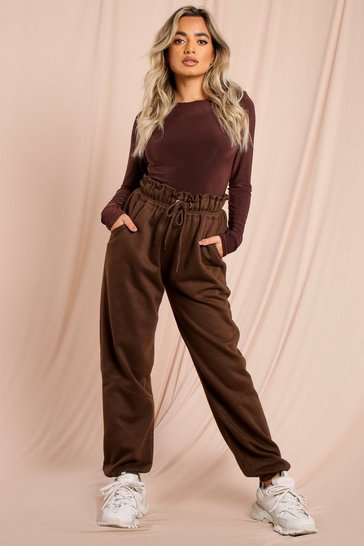 Chocolate Ruched Waist Oversized Soft Jogger