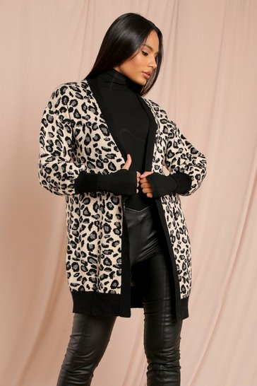 Black Animal Print Knitted Cardigan