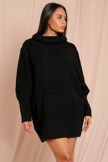 Black Batwing Sleeve Rib Knitted Jumper