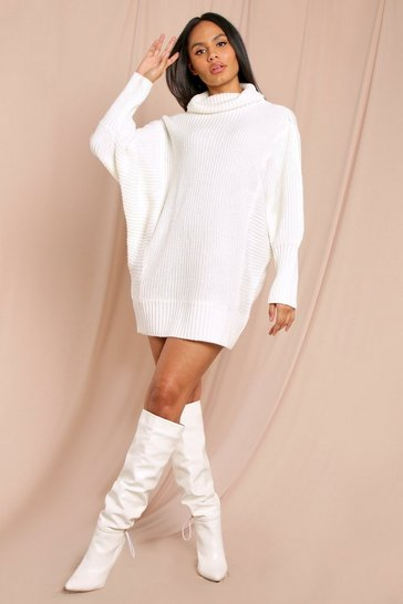 Cream Batwing Sleeve Rib Knitted Jumper