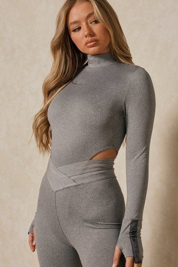 Charcoal Misspap 2 Branded High Neck Bodysuit