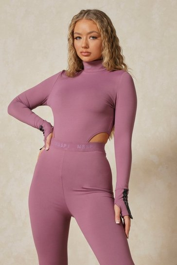 Mauve Misspap 2 Branded High Neck Bodysuit