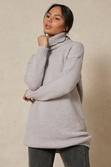 Grey Longline Oversized Roll Neck Jumper
