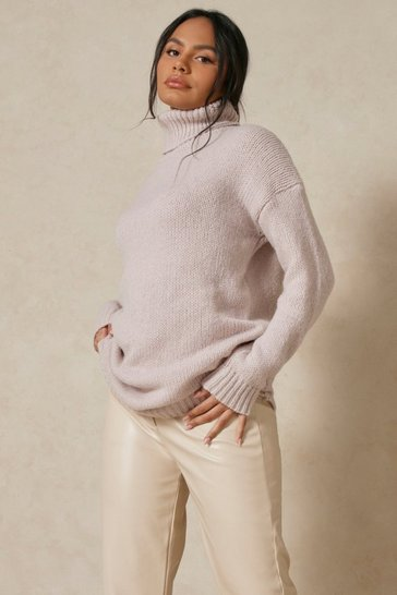 Stone Longline Oversized Roll Neck Jumper