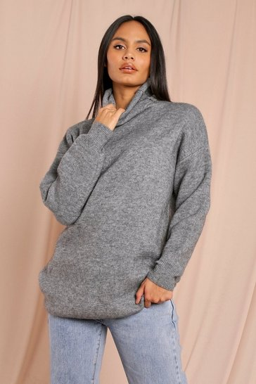 Grey Funnel Neck Oversized Brushed Jumper