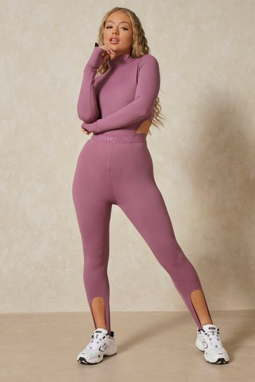 Mauve Misspap 2 Branded Stirrup Leggings