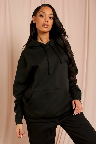 Black NY Collection Slogan Oversized Hoodie