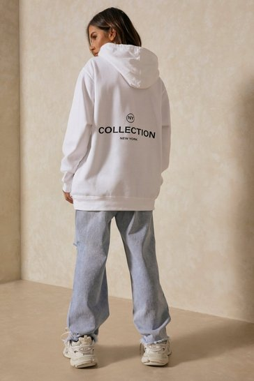 White NY Collection Slogan Oversized Hoodie
