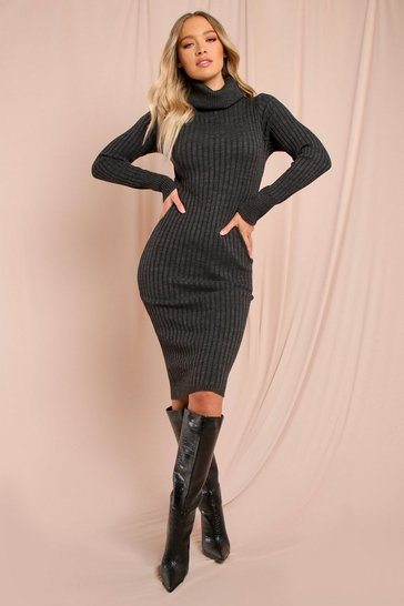 Charcoal Knitted Turtle Neck Midaxi Dress