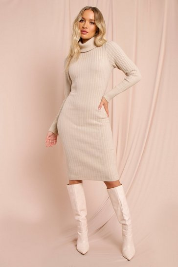 Nude Knitted Turtle Neck Midaxi Dress