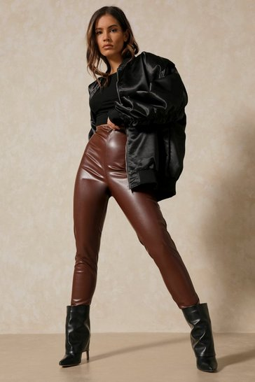Chocolate Ruched Bum Leather Look Trouser
