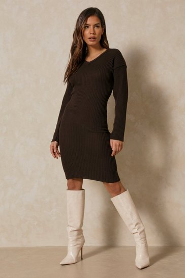 Chocolate Knitted V Neck Midaxi Dress