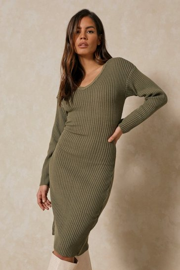 Dark olive Knitted V Neck Midaxi Dress