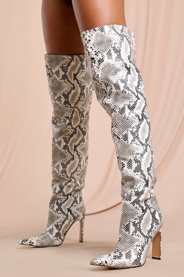Nude Snake Print Over The Knee Heeled Boot