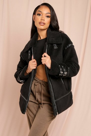 Black Contrast Pu Piping Teddy Fur Aviator