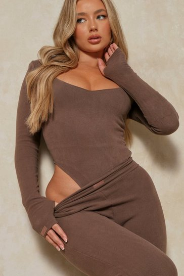 Chocolate Misspap Label Brushed Rib Scoop Neck Bodysuit