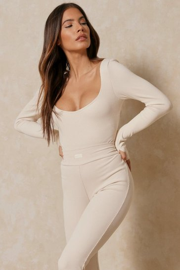 Cream Misspap Label Brushed Rib Scoop Neck Bodysuit