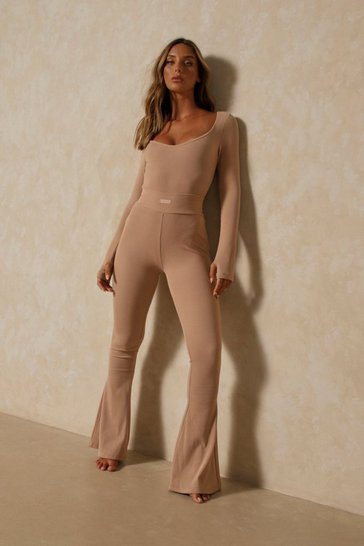 Camel Misspap Label Brushed Rib Flare Leg Trousers