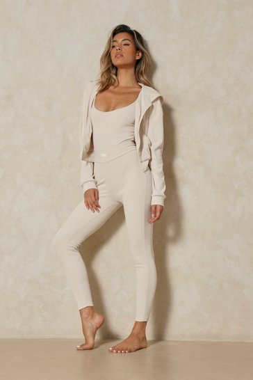 Cream Misspap Label Brushed Rib Ruched Bum Legging