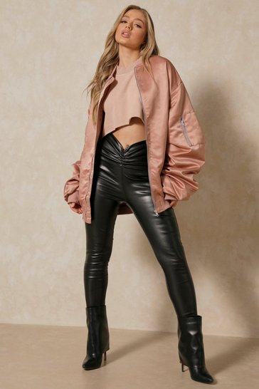 Black Leather Look Ruched Front Leggings