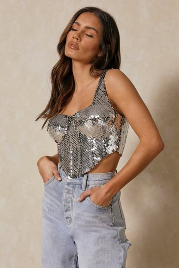 Silver Sequin Corset Dip Hem Crop Top